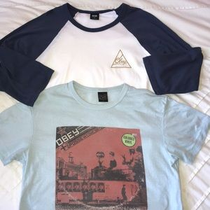 Obey 2 tee shirt set - baseball and graphic - M